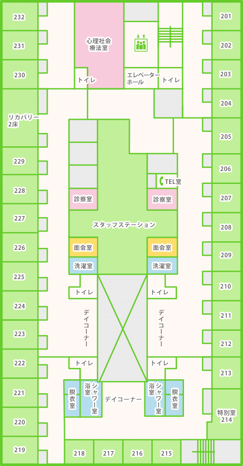 救急病棟(南病棟)2Fフロアマップ